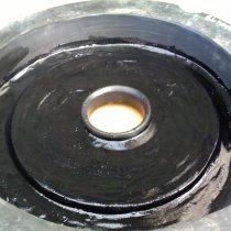 Wykładzina gumowa odbudowana z użyciem materiału Belzona 2111 (D&A Hi-Build Elastomer)