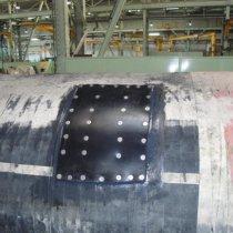 Mata gumowa zespojona w miejscu uszkodzenia z użyciem materiału Belzona 2211 (MP Hi-Build Elastomer)