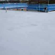 Połać dachu zabezpieczona zimą przy pomocy materiału Belzona 3111 (Flexible Membrane)